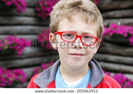 Young Boy mountain portrait - stock photo