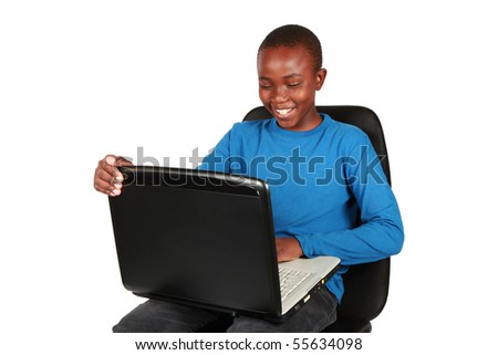 Young boy on a laptop. Education is your future. - stock photo