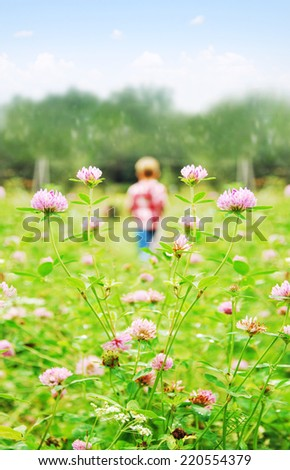 Young boy on a meadow - stock photo