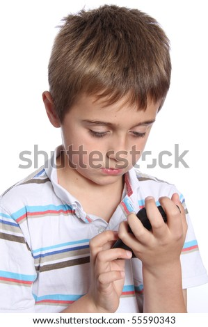 Young boy on the phone
