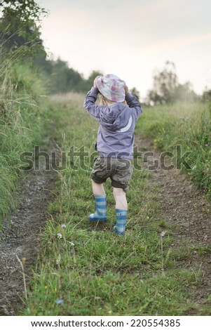 Young boy on vacation - stock photo