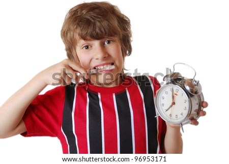 young boy overslept