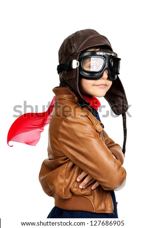 Young boy pilot isolated in white - stock photo