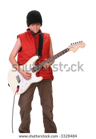 young boy playing electric guitar, isolated on white