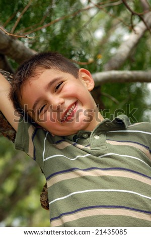 Young boy plays in a tree - stock photo