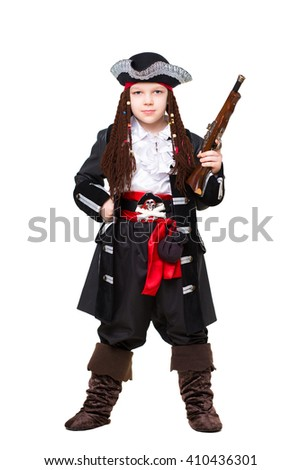 Young boy posing in pirate costume. Isolated on white