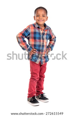 Young boy posing isolated in white - stock photo