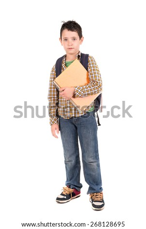 Young boy posing ready to go back to school
