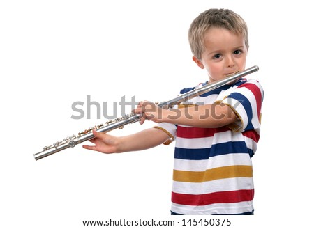 Young boy practicing on his flute on white background concept for music education