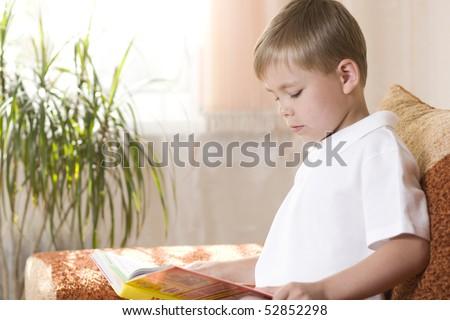 Young boy reading a book - stock photo
