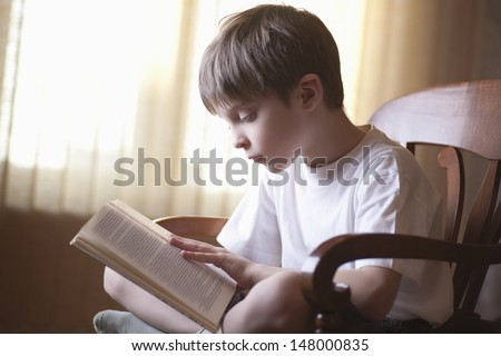 Young boy reading book on chair at home - stock photo