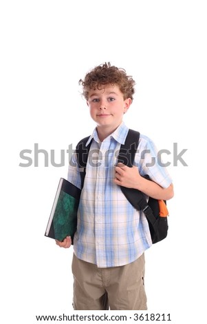 Young boy ready for school - stock photo