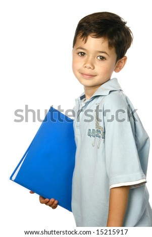 Young boy ready for school holding a blue folder.