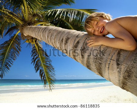 Young boy relaxes on a palm tree in a tropical beach - stock photo