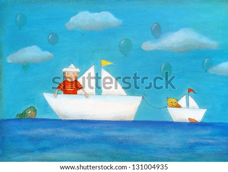 Young boy sailing, child's drawing, oil painting on canvas - stock photo