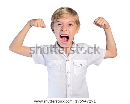 young boy showing biceps on white background - stock photo