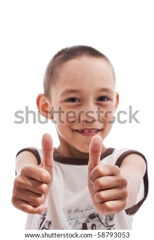 young boy showing OK isolated on white - stock photo