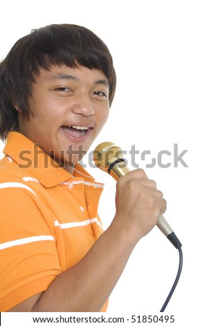 Young boy signing - stock photo