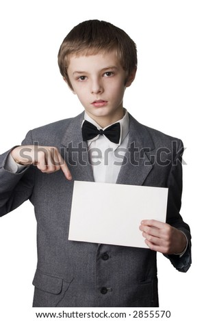 Young boy signing on blank card. Very useful place for the text  inserting - stock photo