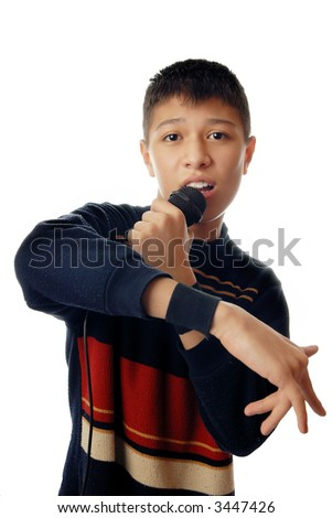 Young boy singing a hip-hop song - stock photo