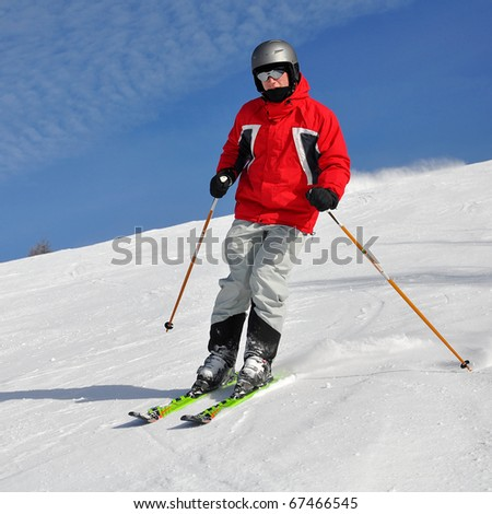 Young boy skiing on mountains in Austria - stock photo
