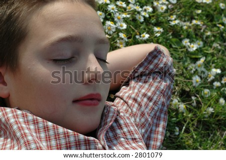 Young boy sleeping on a warm summer day - stock photo