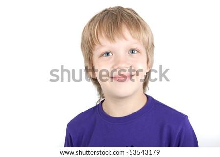 Young boy smiles - stock photo