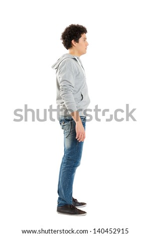 Young Boy Standing Isolated On White Background  - stock photo