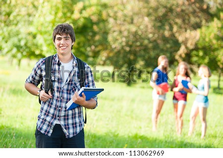 Young Boy Student with Friends at Park,Italy