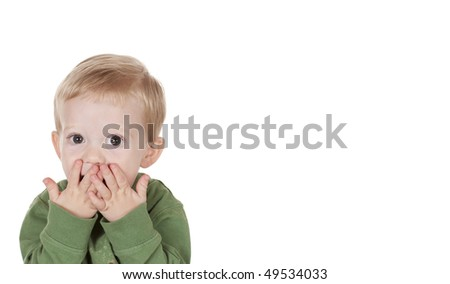 Young Boy Surprised with lots of extra white background - stock photo
