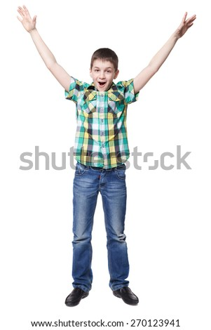 Young boy thumbs up on white background