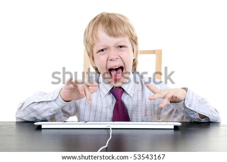 young boy typing
