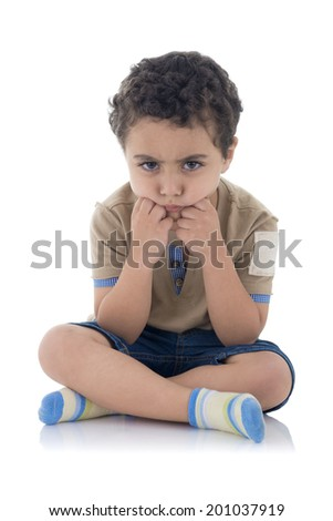 Young Boy Upset Isolated on White Background - stock photo