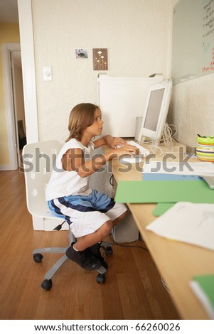 Young boy using a computer