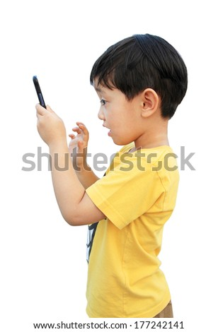 Young boy using smartphone isolated over white background - stock photo