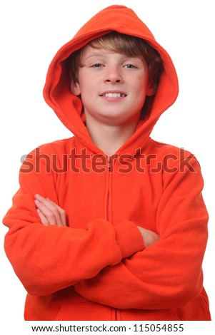 Young boy wearing an orange hoodie on white background - stock photo