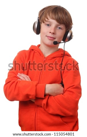 Young boy wearing headphone with microphone on white background - stock photo