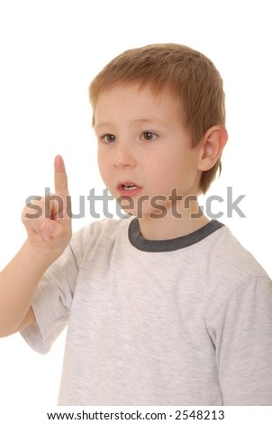Young boy with an injury covered by a band-aid - stock photo