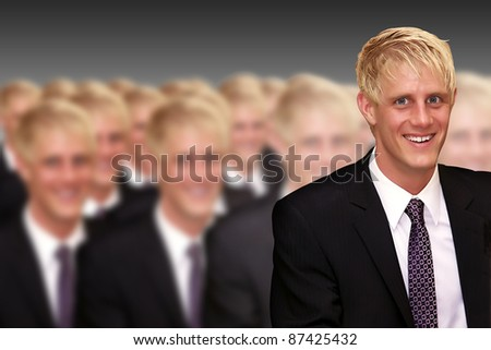 young boy with blonde hair is apparent - stock photo