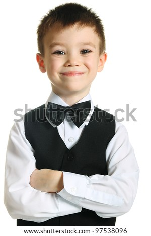 Young boy with bow tie isolated on white background