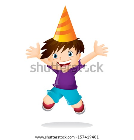 Young boy with brown hair jumping excitedly - stock photo