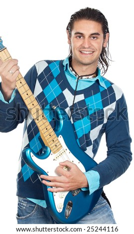 young boy with electrical guitar a over white background - stock photo
