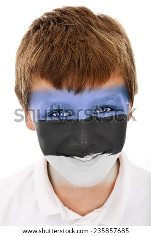 Young boy with estonian flag painted on his face - stock photo