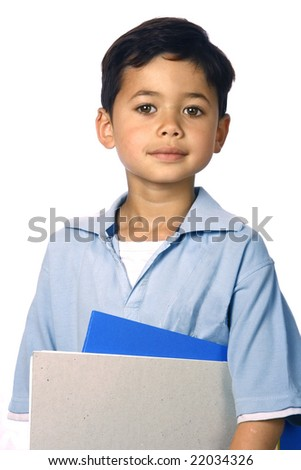 Young boy with files and books, isolated - stock photo