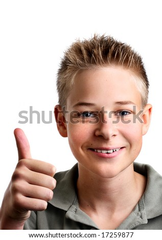 Young boy with his thumbs up with joy