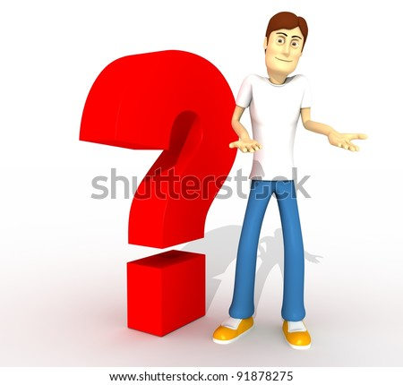 young boy with question tag whole body - stock photo
