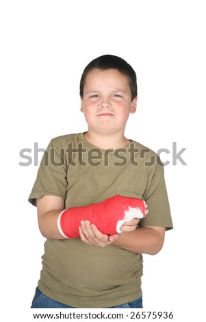 Young boy with red cast isolated on white background - stock photo