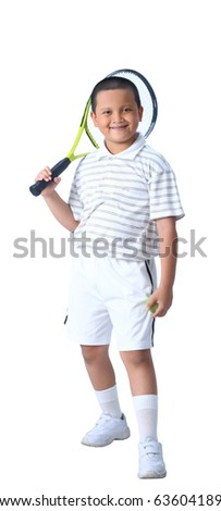 Young boy with tennis racket and ball isolated - stock photo