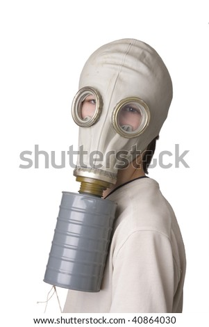 Young boy with the Gas Mask - stock photo