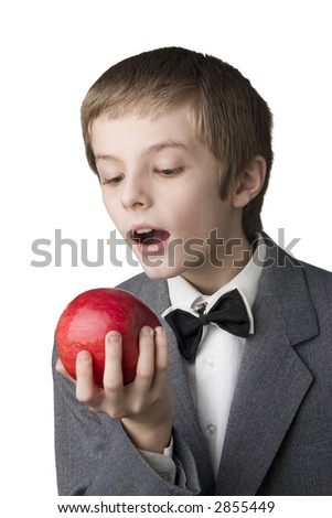 young boy with the red apple - stock photo